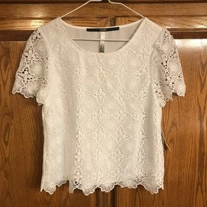 NWT Kensie S white lace blouse top small